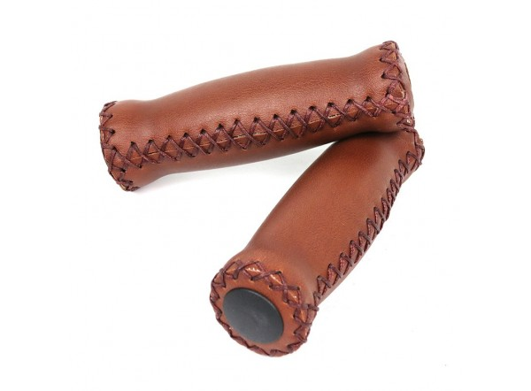 Pair (2 pcs) of brown leather grips